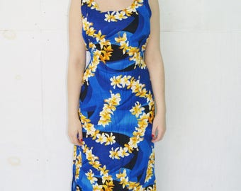 Vintage Blue Flower Hawaiian Maxi Dress by Anna's Made in Hawaii Size Large