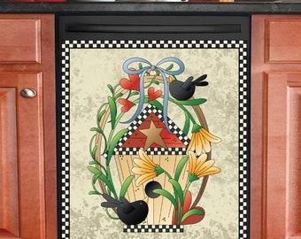 Country Decor Kitchen Dishwasher Magnet - Primitive Black Birds and Birdhouse