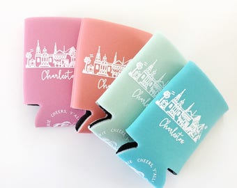 Charleston, South Carolina Rainbow Row Insulated Can Holders