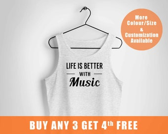 Music vest,Music Gifts,tee vest,Musician Gift,Country Music vest,Festival vest,Music Lover Tee,Life is Better with Music,music lover t ,