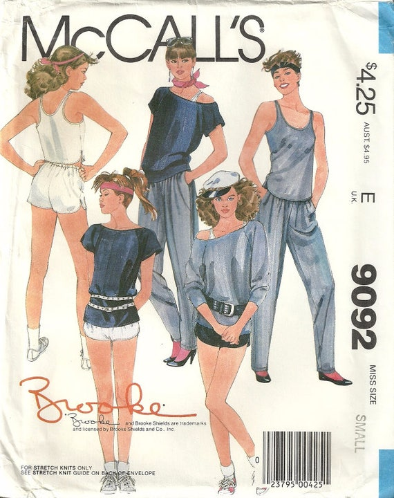 McCalls 9092 Vintage Brooke Shields Workout Gear 80\'s Boat Neck Top ...
