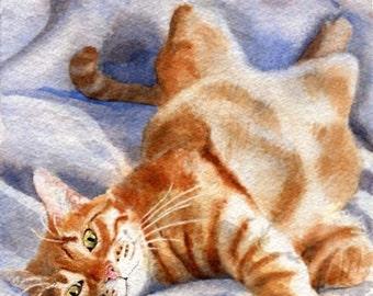 Orange Ginger Tabby Cat Print of Painting Art Marmalade  watercolor artwork