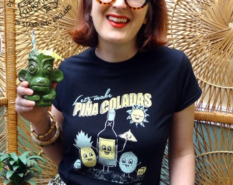 Pina Colada Friends Vintage Style Tee Shirt by Clumsy Kate