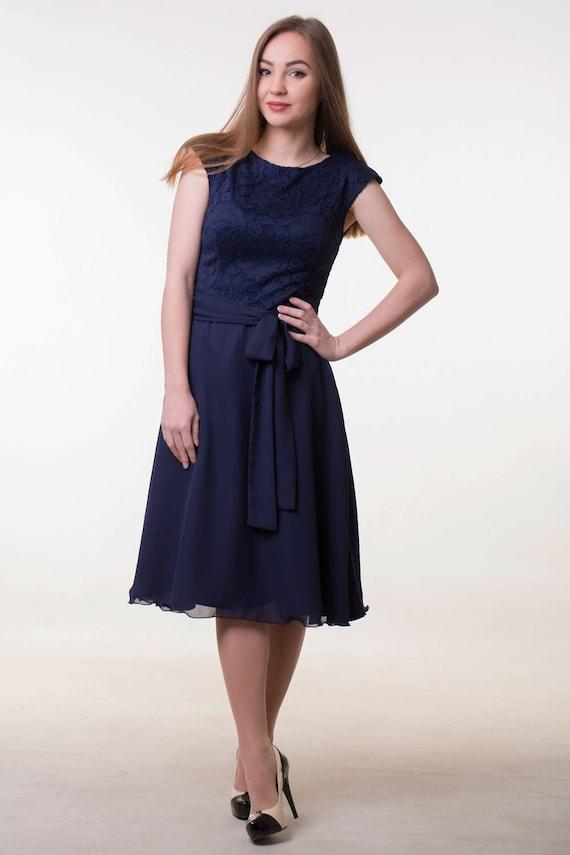 Navy blue bridesmaid dress Short navy lace dress Navy blue