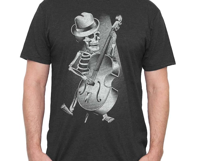 Halloween Bass Guitar Shirt - Mens Bass Player Shirt - Skeleton Playing Bass Hand Screen Printed on a Mens T-shirt