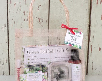 Holiday Tree Large Gift Set - Mesh Tote - Green Daffodil