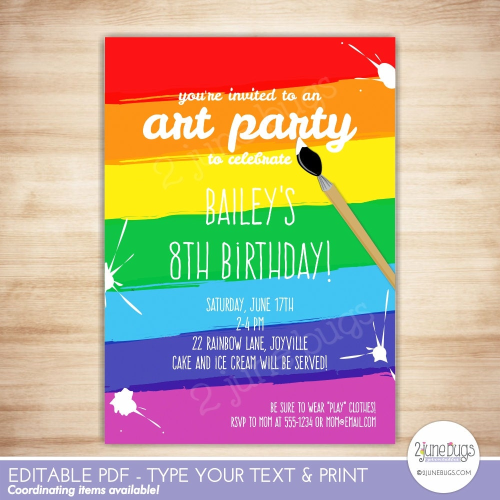 Art Party Invitation Template Paint Party Printable