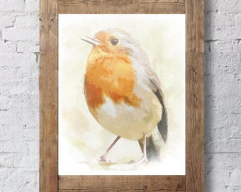 orange bird - bird watercolor  - bird lover gift - bird watcher gift - colorful bird art - whimsical bird art - minimalist bird art