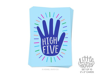 Little Note Card Set of 10 - High Five - Celebration Notes - Mini Congratulations Cards - Enclosure cards - Hennel Paper Co. - LN3