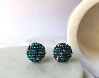 Blue green bright and gold beaded earrings, statement piece, handmade jewelry with glass beads. Stud button  earrings geometric pieces