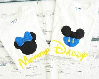 baby Mickey Minnie Mom and Dad matching shirts Parents shirts Mommy and Daddy blue Mickey Minnie Shirts family shirts