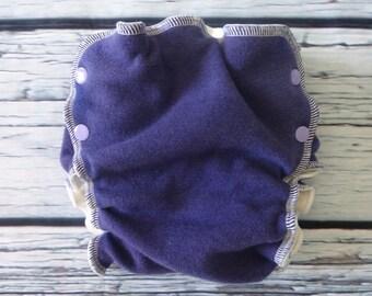 Wool Interlock Side Snap Wrap Cover - Medium Long - Purple