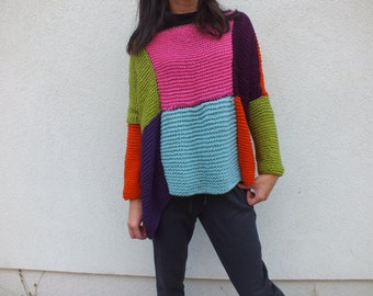 Multicolor sweater Women sweater Short sweater Loose fit