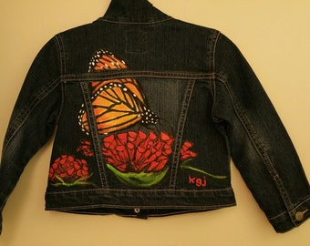 Hand painted monarch butterfly & red flower on child's denim jean jacket