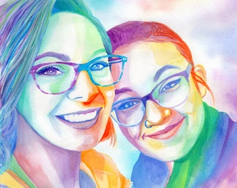 Lesbian girlfriend gift ideas for birthday Custom women rainbow portrait Lesbian anniversary gifts for her Love gift for her Rainbow flag