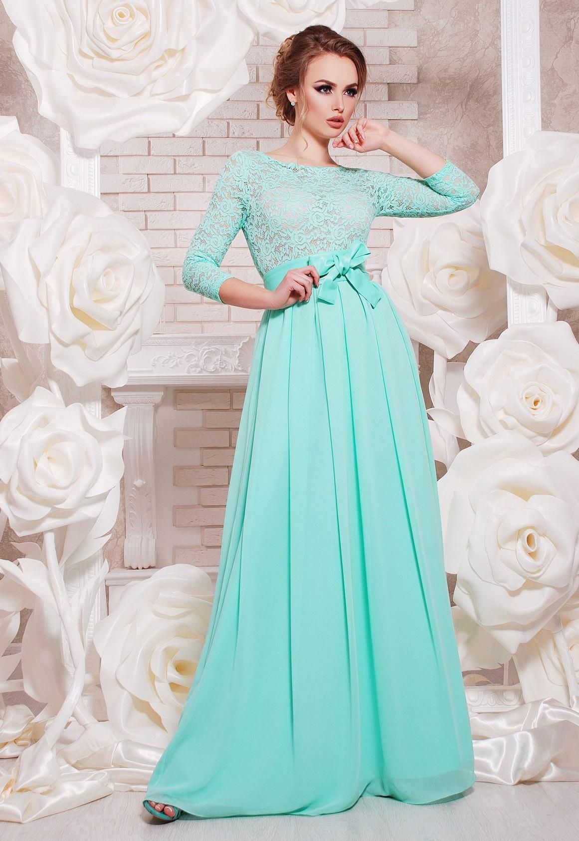 Mint long dress Mint Bridesmaid Evening Dress Wedding mint