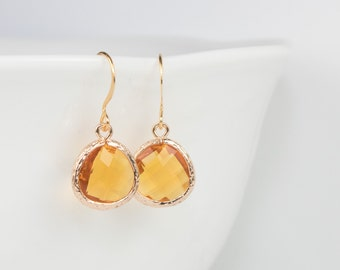 November Birthstone Topaz Gold Earrings, Topaz Gold Dangle Earrings, November Birthday Gift, Gold Earrings, Birthstone Jewelry #807