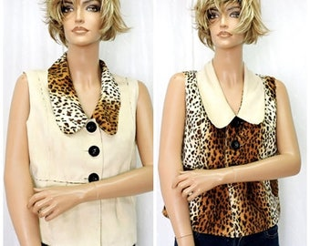 90s leopard print top / size M / reversible faux leopard vest / animal print top