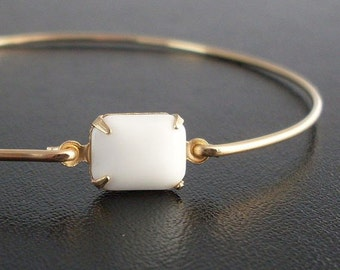 White Bracelet, White Jewelry, White Bangle Bracelet