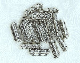 3 Hole Floral Spacer Bead Antiqued Silver Spacer Bar Multi Strand Bead 14mm Spacer Bead