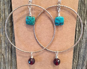 Sterling Silver Hoops with Turquoise and Garnets