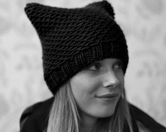 Black Cat Hat Womens Chunky Knit Beanie