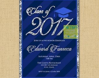 Navy and SIlver graduation invitation, navy blue graduation invitation, Blue Silver Graduation Invitation, Navy Stripe Graduation Invitation