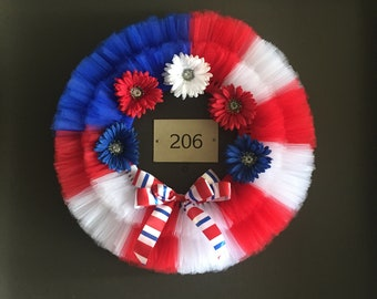 Red White and Blue Patriotic Daisy Wreath
