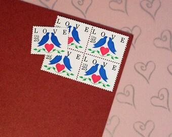 Ten 25c Bluebirds Love .. Vintage Unused US Postage Stamps .. Wedding Postage, Valentine's Day, Heart, Romance