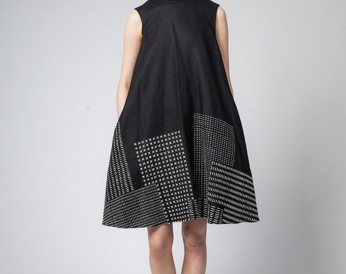 Black linen dress Maternity dress Embroidered oversize caftan dress Maxi dress summer Bridesmaide robes Bohemian dress