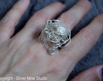 Shell silver ring, silver wire shell bead statement ring