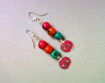 Bright Pink, Orange and Teal Acai Earrings (1430)