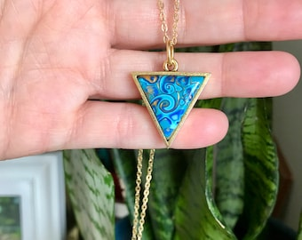 Handcrafted Triangle Gold Plated Polymer Clay Pendant // Blue Pendant // One of a Kind Necklace // Unique Gift Ideas
