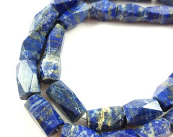 Faceted Lapis Lazuli Bugle Beads, 12 x 7.5 mm to 19 x 9.5 mm Lapis Lazuli Tube Beads,  17 Inch Strand #MISK098