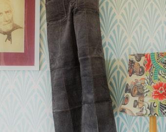 11. 70s Siclat flared pants grey-blue-orange-red plaid - Teenager size EU146 / Women EU34 rAWE3zZNw