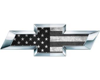 2 B/W American Flag Vinyl Sheets for Chevy Emblem Bowtie Silverado Tahoe Overlay Decal