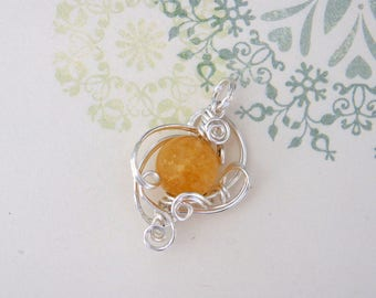 Handmade Pendant top, Rutile quartz (12 mm), wire. Suitable for everyday use. For gifts.