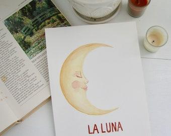 La Luna - Watercolor Moon painting