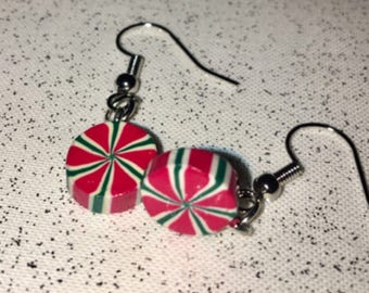Wooden Peppermint candy inspired dangle earrings