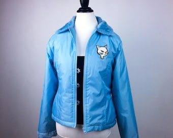 90s Silver Winking Cat Patch Zip up Pastel Blue Puffer Jacket with Fuzzy Collar // M