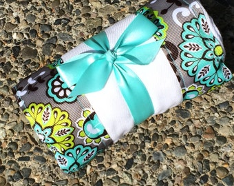Burp Cloth / Changing Pad: Teal Grey Green Flowers, Personalization Available