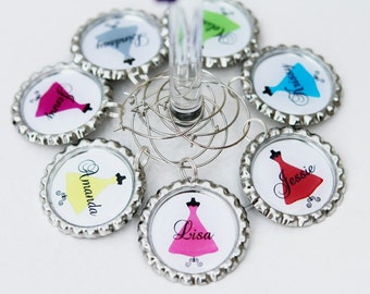 Bridesmaid Wine Glasses Charms Personalized wedding wine charms, Bridal Shower Favors, Bachelorette Party Favors  - Custom Color Name