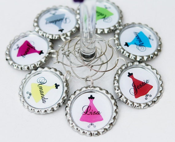 Bridesmaid Wine Glasses Charms Personalized wedding wine