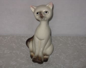 Vintage ceramic Siamese cat figurine