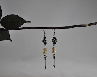 Tribal earrings, Tan earrings, Arrow earrings, Bronze earrings, Dangle earrings, Bronze jewelry