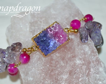 Druzy bracelet with faceted agate and lilac ice flake quartz.
