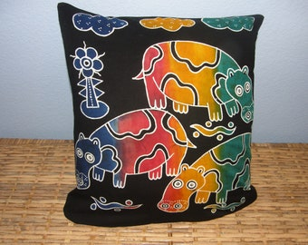 "Hippo Pillow Batik Fabric from Indonesia - 14"", includes pillow cover and pillow form - African animal, hippo, batik"