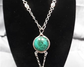 Sterling Silver Parrotwing and Emerald Art Nouveau Necklace