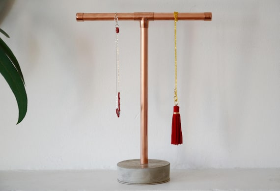 Concrete and copper jewelry stand Jewelry holder Jewellery