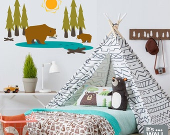 Bears in the Woods Vinyl Wall Decal -  Children's Bedroom or Playroom Wall Decal